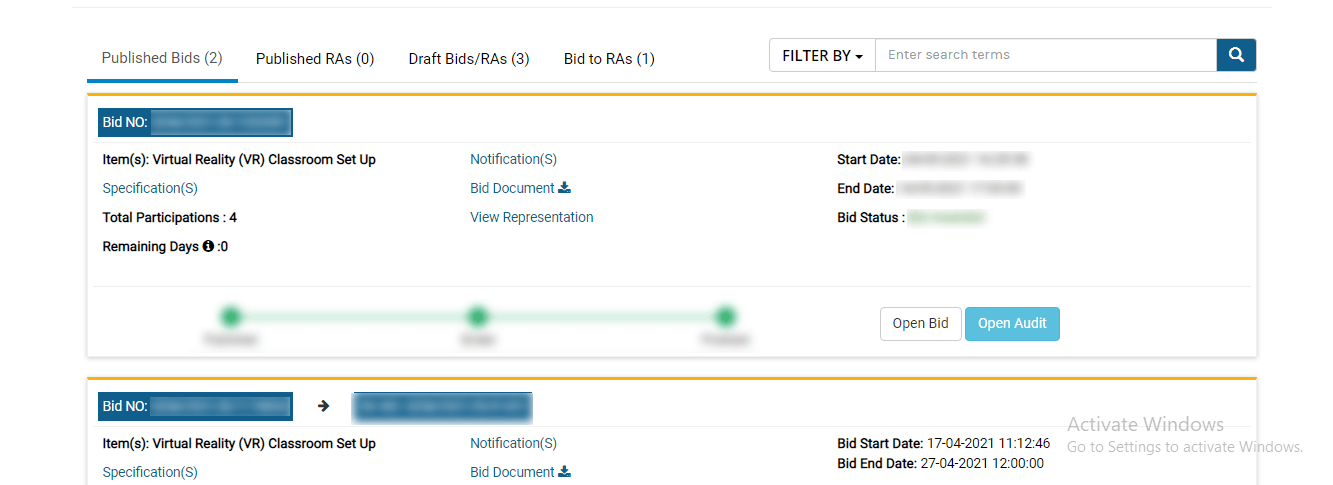 BID option and select BID Status