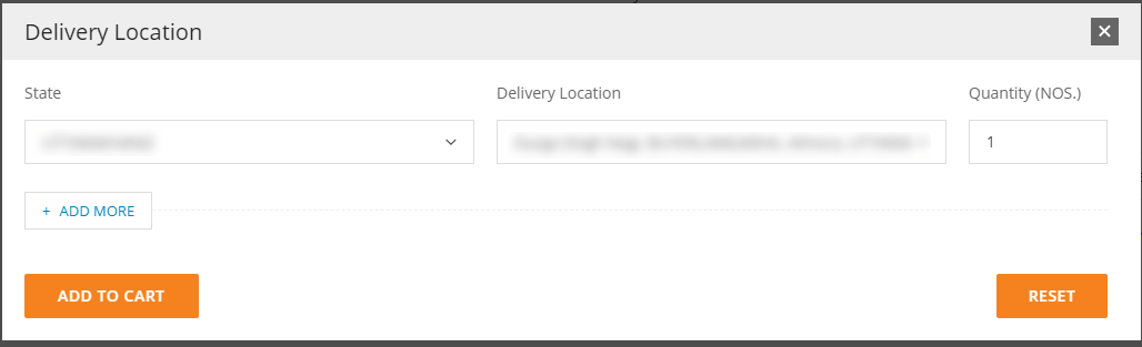 Select Delivery location & and click on ADD to cart