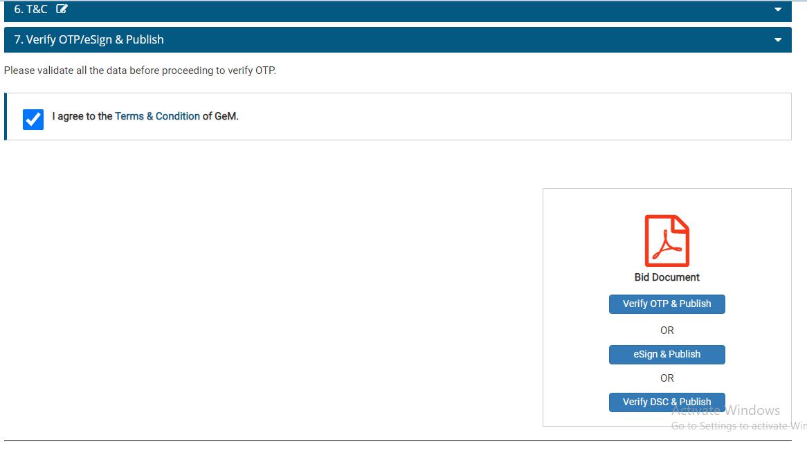 Verify OTP/e sign & Publish