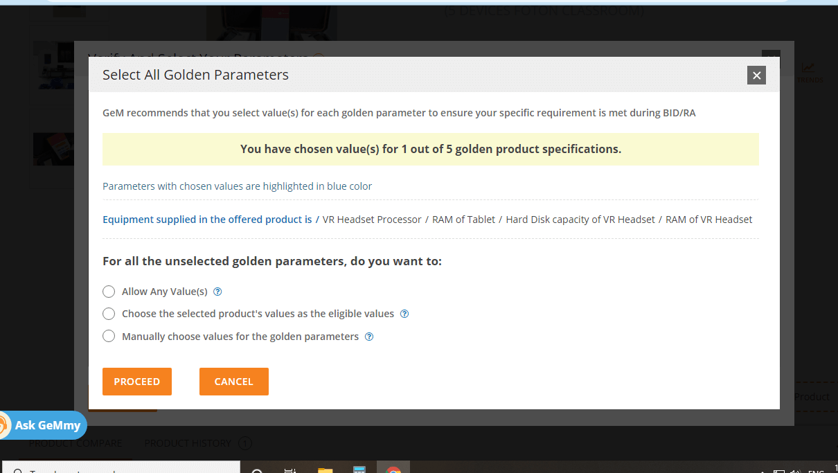 select all golden parameters
