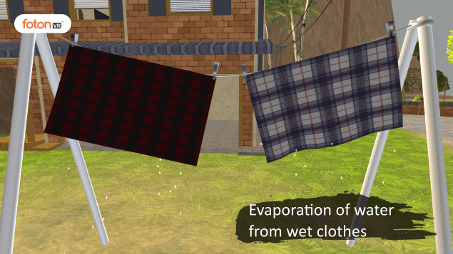 Virtual tour 2 Evaporation of water from wet clothes