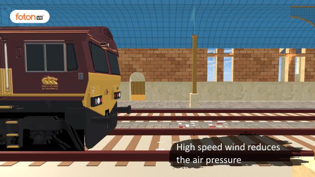 Virtual tour 3 High speed wind reduces the air pressure